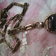 Victorian Watch Chain Necklace Intaglio Spinner Fob
