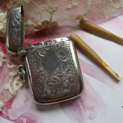 Sterling Antique Match Safe Locket    English Small Size