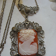 Art Deco Sterling Cameo Necklace