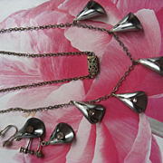 Art Deco Call Lily Necklace & Screw Back Earrings