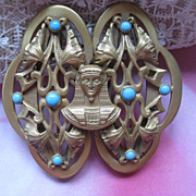 SALE Art Deco Egyptian Revival Buckle Pin   Circa 1920