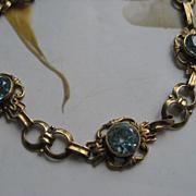 SALE Blue Zircon 14K Bracelet Circa 1930   6.4g