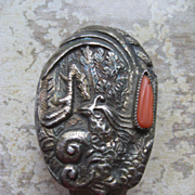 Antique Sterling Coral Chatelaine Clip