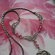 Art Deco Filigree Pink Crystal Necklace