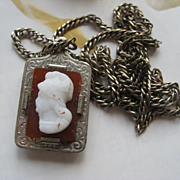 Antique Cameo Fob on Watch Chain