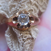 Older Vintage Circa 1930 Paste Ring in Gold Fill   Buttercup Setting