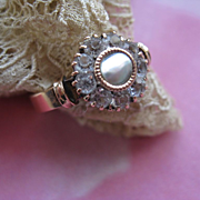 Antique 10K Paste Mother Of Pearl Ring