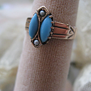 Victorian 10K Ring, Persian Turquoise Seed Pearl 10K Ring, Estate Jewelry, Antique Rings
