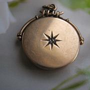 Antique 10K Locket, Rose Cut Diamond, Star Burst