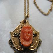 Victorian 10 K Coral Cameo Necklace,  Fine Estate Jewelry