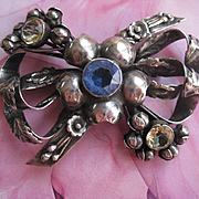 Hobe Jeweled Sterling Bow Pin