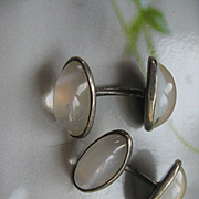 Antique Sterling Art Glass Moonstone Cufflinks