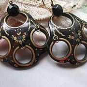 Antique Victorian Pique Brown Shell 10K Gold Pierced Earrings C1870