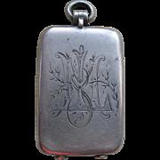 Victorian Sterling Match Safe Locket, Antique Silver locket