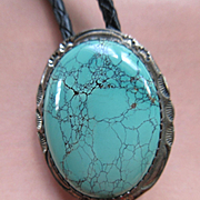 SALE PENDING Navajo Sterling Turquoise Bolo Hallmarked TT