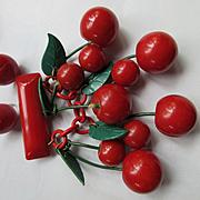 Deco WWII Era Red Bakelite Cherries Pin and Earrings  1930s 1940s