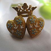 Krementz 14K  Enameled Crowned Double Heart Pin, Antique Art Nouveau