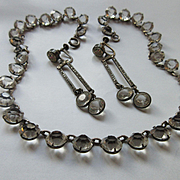 Deco 1920s Open Back Crystal Necklace and Earrings, Sterling
