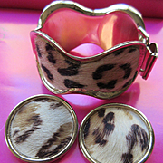 Bergere Faux Leopard Bracelet and Clip On Earrings
