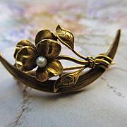 Antique 14k Honeymoon Pin , Link & Angell, 1900 - 1910