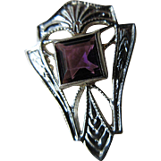 Deco 14K White Gold Amethyst Stick Pin