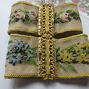 SALE Pair Of Victorian Pinchbeck Petit Point Cuff Bracelets Circa 1850