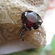 Victorian Garnet Ring, Garnet Solitaire Ring. Garnet Birthstone Ring, January Birthstone