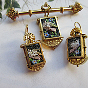 Victorian 14K Micro Mosaic Bird Set, Antique Pin and Earrings, Fine Estate Jewelry