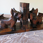 Vintage Carved Wood Scottie Dog Book Ends