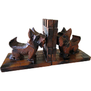 Vintage Carved Wood Scottie Dog Book Ends