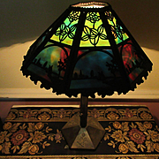 Bradley and Hubbard 1908 Arts and Crafts Scenic Slag Glass Lamp, Antique Lamp, Sixteen Panel Lamp, Slag Glass Lamp
