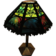 Bradley and Hubbard 1908 Arts and Crafts Scenic Slag Glass Lamp, Antique Lamp, Sixteen Panel .