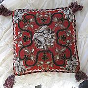 Victorian 10'' Needle Point Beaded  Pillow