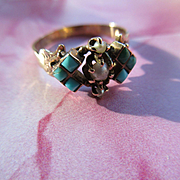 Victorian Persian Turquoise Seed Pearl 10K Ring, Antique Turquoise Ring