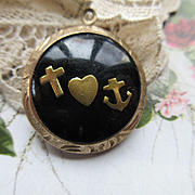 Faith Hope and Charity Good Luck Fob, Circa 1930, Four Leaf Clover Charm