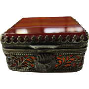 Antique Banded Agate Snuff Box or Vinaigrette