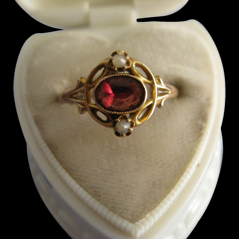 Garnet Seed Pearl Ring