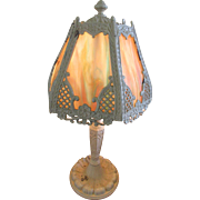 1930s Slag Glass Boudoir Lamp, Vintage Lighting