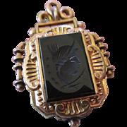 Victorian Tiger Eye, Intaglio Locket in Gold Fill