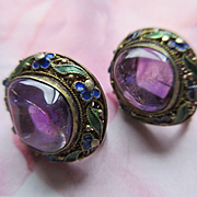 1920s Chinese Import Amethyst 800 Silver Enameled Screw Back Earrings