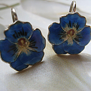 Vintage Sterling Enameled Pansy Earrings