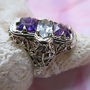 Deco 14K White Gold Filigree Amethyst Aqua Ring