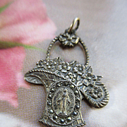 Vintage Religious Medal, 1920s Miraculous Medal Charm, Deco Flower Basket Charm