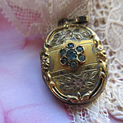 Older Vintage Paste Locket, 1930s Gold Fill Locket, Locket Charm