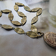 Victorian Bird Locket Necklace, Antique Leaf Chain