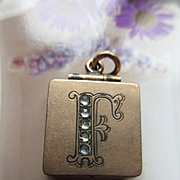 Antique Paste Fob Locket, Initial F Locket