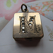 Victorian Locket Fob, Initial M Antique Locket