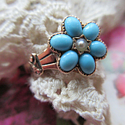 Victorian 14K Turquoise Seed Pearl For Get Me Not Ring, Fine Estate Jewelry