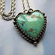 Vintage Navajo Sterling Turquoise Heart Necklace