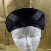 SALE Vintage Bloomingdale's Black Velvet Hat with Veil Netting Ribbon